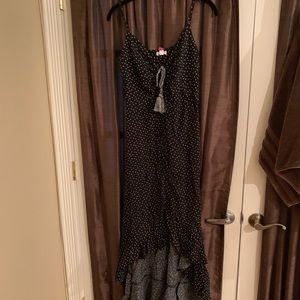 Xhilaration high low black polka dot dress! NWT